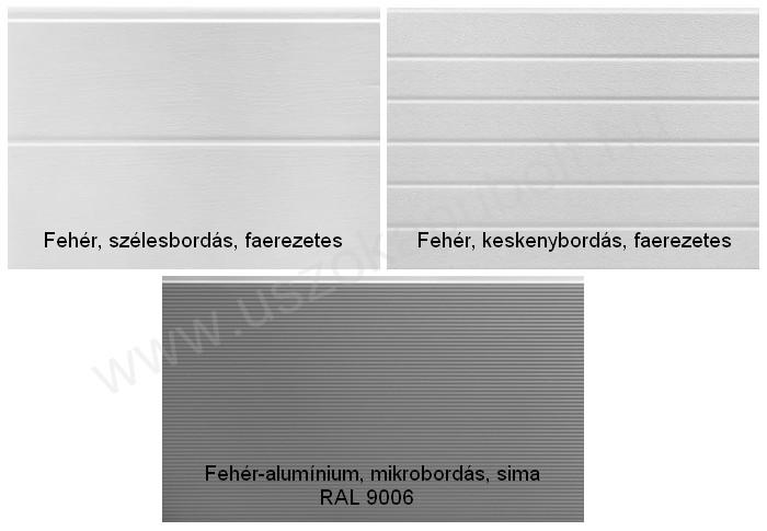 Fehér és fehér-alumínium garázskapu panel
